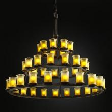 Justice Design Group GLA-8714-16-AMBR-DBRZ - Dakota 45-Light 3-Tier Ring Chandelier