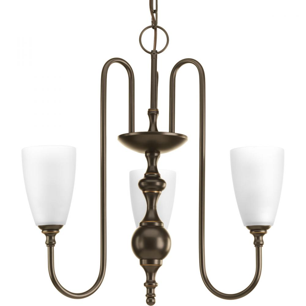 Three-light chandelier finished in antique bronze with etched glass.
