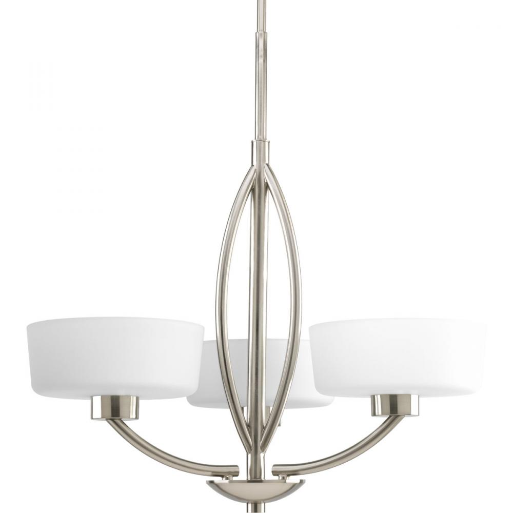 Three Light Brushed Nickel Opal Etched Glass Drum Shade Chandelier