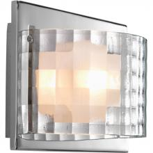 Progress P2823-15WB - One Light Polished Chrome Clear Textured With Etched Diffuser Glass Bathroom Sconce