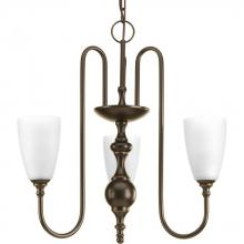 Progress P4234-20 - Three-light chandelier finished in antique bronze with etched glass.