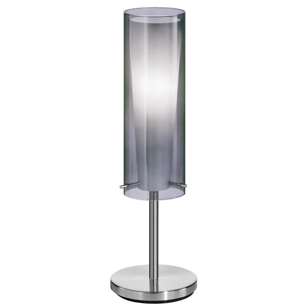 1x60W Table Lamp w/ Matte Nickel Finish & Inner White Glass Surronded by an Outer Smoked Glass