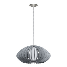 Eglo 202119A - 1x60W Pendant w/ Matte Nickel Finish & Grey Wood Shade & White  Glass