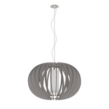 Eglo 202123A - 1x60W Pendant w/ Matte Nickel Finish & Grey Wood Shade & White  Glass