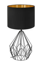 Eglo 202131A - 1x60W Table Lamp w/ Matte Black Finish & Black & Gold Shade