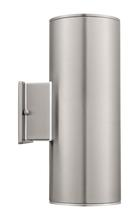 Eglo 90121A - 2x75W Outdoor Wall Light w/ Stainless Steel Finish & Clear Glass