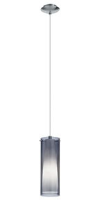 Eglo 90304A - 1x60W Mini Pendant w/ Matte Nickel Finish & Inner White Glass Surronded by an Outer Smoked Glass