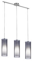 Eglo 90305A - 3x60W Multi Light Pendant w/ Matte Nickel Finish & Inner White Glass Surronded by an Outer Smoked Gl