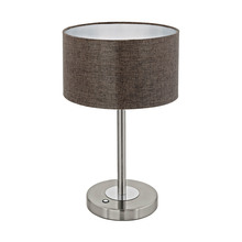 Eglo 95343A - 1x12W Table Lamp w/ Stain Nickel/Chrome Finish & Brown Linen Shade