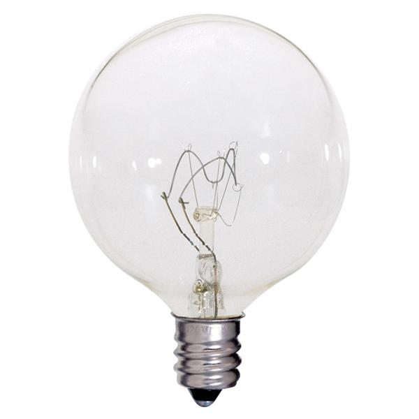 60 watt; G16 1/2; Clear; 2500 average rated hours; 720 lumens; Candelabra base; 120 volts