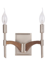 Jeremiah 40362-BNKWB - Tahoe 2 Light Wall Sconce in Brushed Nickel/Whiskey Barrel