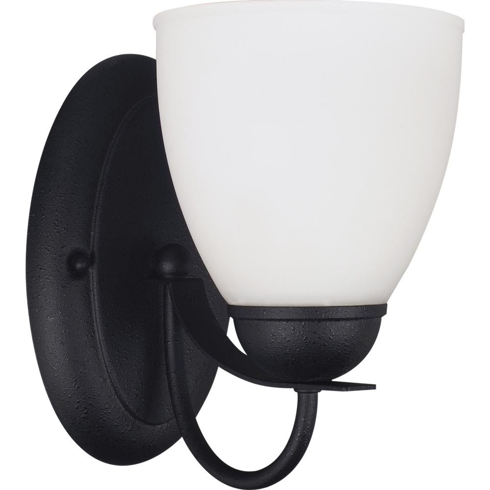 Fluorescent Uptown One Light Wall/Bath Sconce in Blacksmith with Satin Etched Glass
