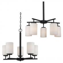 Sea Gull 31161BLE-839 - Fluorescent Five Light Chandelier in Blacksmith Finish with Cased Opal Etched Glass