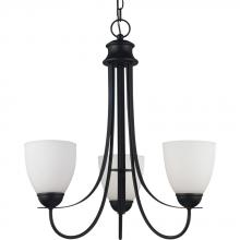 Sea Gull 31270BLE-839 - Fluorescent Uptown Three Light Chandelier in Blacksmith Finish with Satin Etched Glass