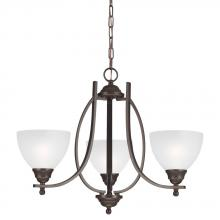 Sea Gull 3131403BLE-715 - Fluorescent Vitelli Three Light Chandelier in Autumn Bronze with Satin Etched Glass