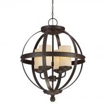 Sea Gull 3190404BLE-715 - Fluorescent Sfera Four Light Chandelier in Autumn Bronze with Cafe Tint Glass