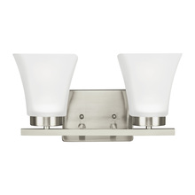 Sea Gull 4411602BLE-962 - Fluorescent Bayfield Two Light Bath/Wall in Brushed Nickel with Satin Etched Glass