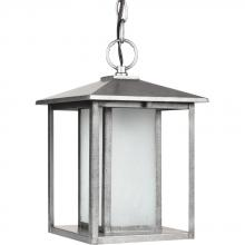 Sea Gull 69029BLE-57 - Fluorescent Hunnington One Light Outdoor Pendant in Weathered Pewter with Seeded Etched Glass