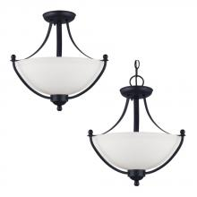 Sea Gull 77270-839 - Uptown Two Light Semi-Flush Convertible Pendant in Blacksmith with Satin Etched Glass