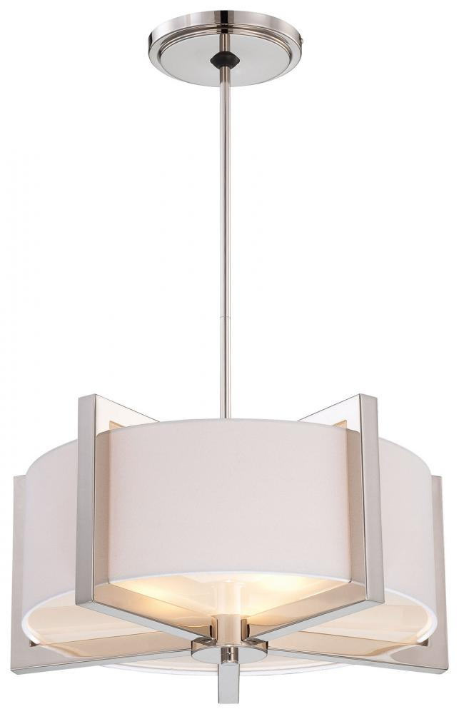 Three Light Polished Nickel Soft White Fabric Shade Tempered Diffuser Glass Drum Pendant