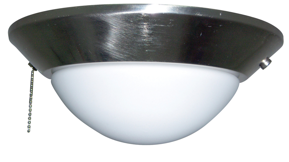 2 Light Bowl Fan Light Kit in Brushed Polished Nickel with Frosted Opal Glass
