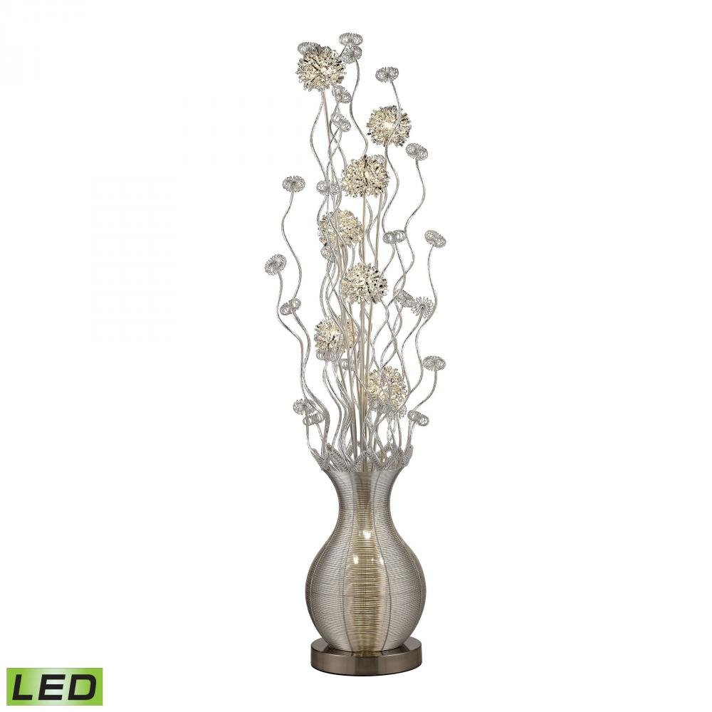 Uniontown Contemporary Floral Display Floor Lamp In Silver